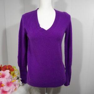 J crew cashmere v-neck purple royal sweater M